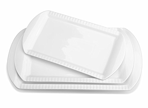 LIFVER Serving Platters, Large Platters Set of 3 with 15.6/13.8/12.2 Inches, Porcelain Rectangular Platters for Kitchen, Serving Dishes-Dinner Plates for Parties and Dinner, White