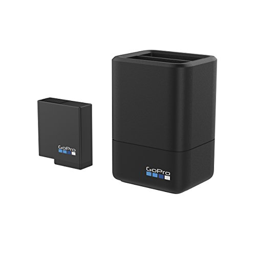 GoPro, caricabatterie doppio, con batteria, per fotocamera HERO5black, (AADBD-001-ES)