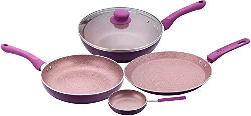 Wonderchef Royal Velvet Non-stick 5-piece Cookware Set (Fry Pan with Lid, Wok, Dosa Tawa, Mini Fry...