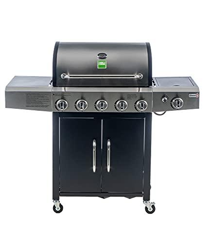 Enrico Coveri Barbecue a Gas Professionale Con 6 Fuochi Multifunzione Da 18.5 KW, Bruciatore Laterale e Coperchio, Perfetto Per Terrazzo, Balcone E Giardino (Kentucky)