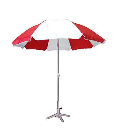Brandway Promotional Garden Umbrella with Stand 6 Ft Thick Waterproof Fabric (Red and White)