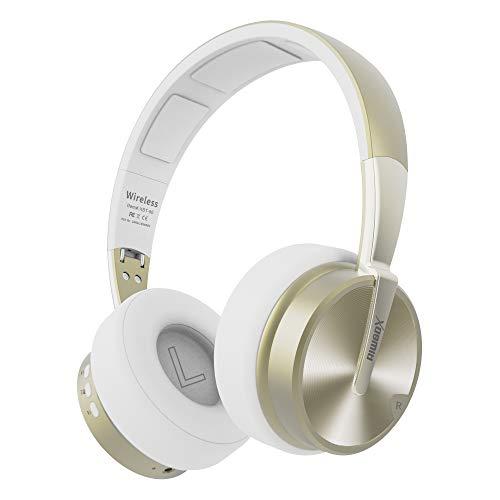 Riwbox XBT-90 Bluetooth-Kopfhörer, faltbar, kabellos, Over-Ear-Kopfhörer, HiFi-Stereo-Headset mit Mikrofon/TF-Karte und Lautstärkeregler für PC/Handy/TV/iPad Weiß/goldfarben