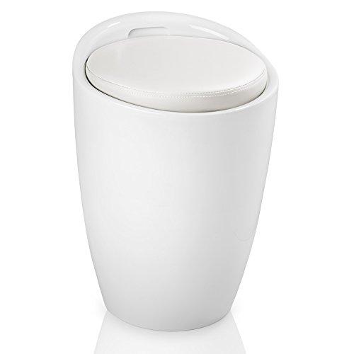 TecTake Sitzhocker Badhocker rund | ABS Kunststoff | mit Stauraum und Sitzkissen - Diverse Farben - (Weiß Weiß | Nr. 402077-3)