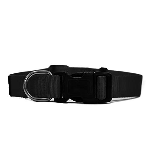 Heads Up for Tails Essentials Nylon Dog Collar - Black - L