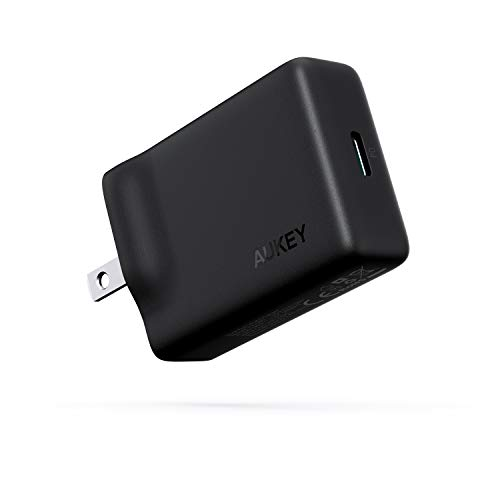 AUKEY USB-C Charger with 27W Power Delivery 3.0, Ultra-Slim USB PD Wall Charger with Foldable Plug, Compatible with iPhone 11 / Pro/Max, AirPods Pro, Nintendo Switch, MacBook Air, and More-Black