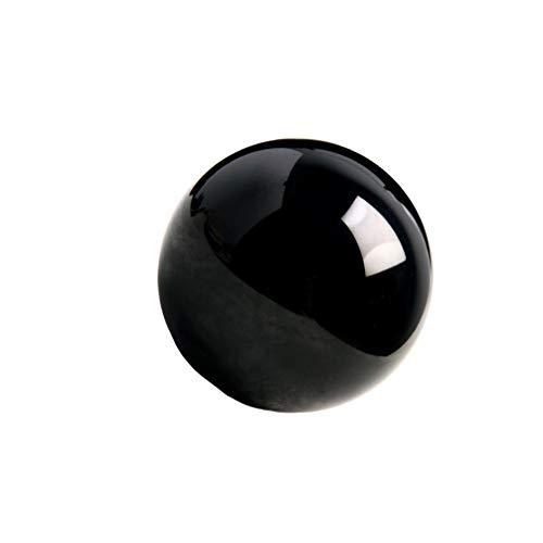 VOSAREA Bola de Cristal de obsidiana Decorativa mágica Mineral Natural adivinación Esfera Bola decoración de Adornos de Escritorio para el hogar (8 cm)