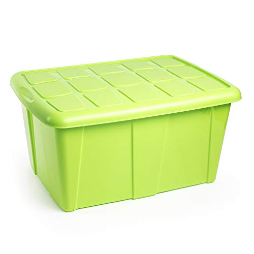 PLASTIC FORTE, Caja de almacenamiento, Verde, 60 litros, sin ruedas