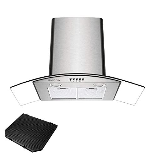 CIARRA ASS9506 Cappa Aspirante 90 cm in Acciaio Inox, cappa 90 cm Aspirazione per 650 m/h, 3 Velocit, con Luce LED,con Filtro per CBCF004