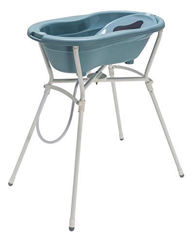 Rotho Babydesign Komplett-Badeset mit Wanne und Klapp-Ständer, ab 0 Monaten, Max 25kg, TOP, Lagoon (Blau), 21060 0292 01