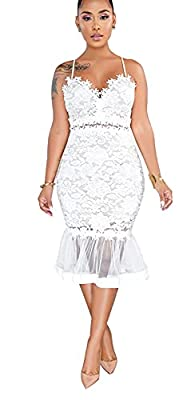 Please Select ONE SIZE Larger If You Are Plump. Retro strap sleeveless backless floral lace cut out see through mermaid cocktail pencil dress. Fabric material: Made of polyester and lace, comfy and breathable lightweight to wear. The material of the ...
