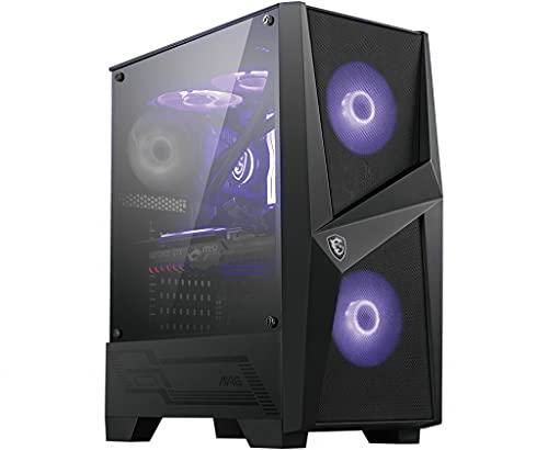 MSI MAG FORGE 100M Mid-Tower - Caja de PC Gaming, 2 x 120 mm RGB + 1 x 120 mm Ventiladores Incluidos, Panel Cristal Templado, ATX, mATX, Mini-ITX, Negro