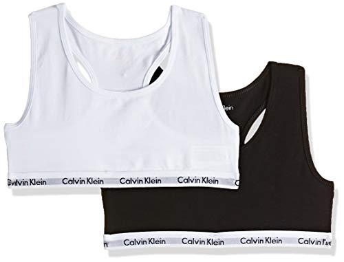 Calvin Klein 2pk Bralette Bikini, White/Black 908, Medium (8-10 años) para Niñas
