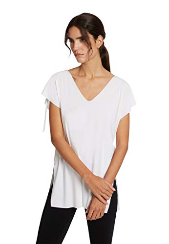 31Gr8vLqONL. SL500 Biodegradable, soft material. Straight-cut top made from a soft yarn with a band to gather up at the shoulders, slits at the side and cut edges with the 'free cut' option. The plunging V-neck can be worn at the front or back. Length at back, size S: 76 cm Cradle to Cradle Certified at gold level