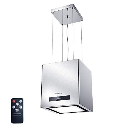 CIARRA CBCS4820 Cappa Cucina Isola 40 cm, Cappe Aspirante 550 m/h, con Temporizzazione/Telecomando a Infrarossi, Luce LED Retroilluminata, Filtro per CBCF003, Argento