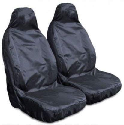 For LandRover Defender, Discovery, Freelander, Range Rover - Heavy Duty Black Pair Waterproof Car Front Seat Covers Protectors - 2 x Fronts