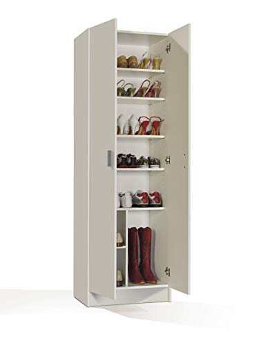 Furniturefactor Kawai B02 Armadio Multiuso, 58.5 x 37 x 180 H Cm, Bianco, Melamina