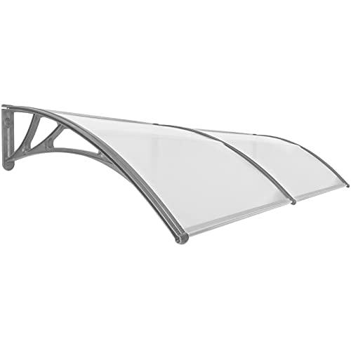 PrimeMatik - Tejadillo de protección 240x100cm Marquesina para Puertas y Ventanas Gris