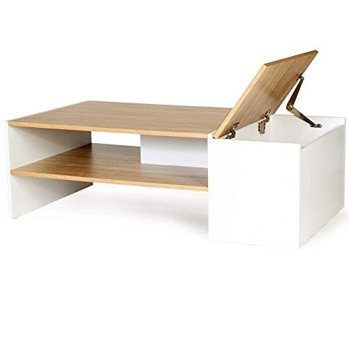 IDMarket - Table Basse Bar contemporaine IZIA avec Coffre Bois et Blanc