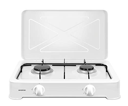Infiniton - Cucina a gas portatile GGP-W2 (2 fuochi, 50 cm di larghezza, fornello a gas, bruciatori rimovibili, gas da campeggio, supporto antiscivolo)