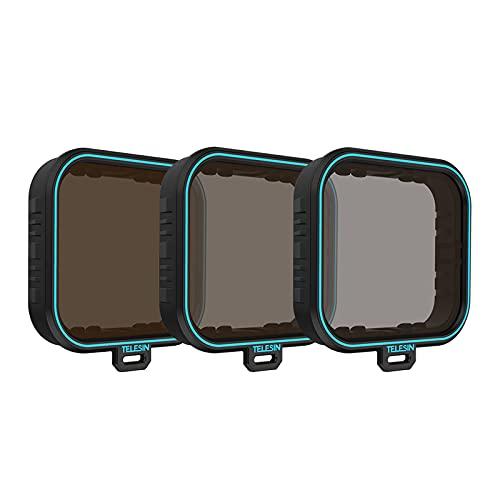 TELESIN - Set di filtri per obiettivo GoPro, ND4, ND8, ND16, a densità neutra, per GoPro Hero 7, Black Hero 2018, Hero 6, Hero 5, nero, accessori per obiettivo della fotocamera GoPro (ND 4/8/16)