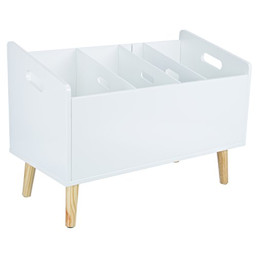 """LOMOS Design Bücherständer \""""Mats\"""" in weiß aus Holz (B/H/T: 60x 42x 30cm)"""