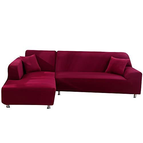 papasgix Copridivano con penisola elasticizzato,Fodere copridivano a forma di L Chaise Longue Sofa Cover angolare lavabile rimovibile estrabile, Federe protettive per divano,2 posti+3 posti,Vino rosso