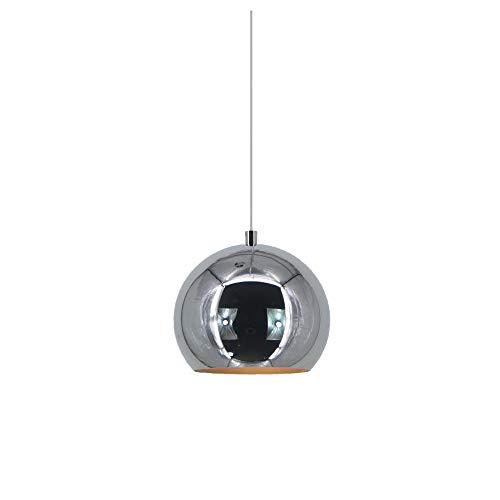 Industrielle Kugel Pendelleuchte Spiegel Ball Lampe Chrom Küche Wohnzimmer Deckenleuchte Licht (Silver, 20cm)