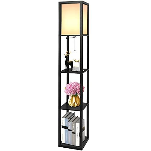 Stehlampe aus Holz, Alampia Stehleuchte mit Regal 1,6M, Moderne Standleuchte Holzablage mit E27 Fassung, EckregalRegalbeleuchtungmit3RegalHölzern für Wohnzimmer Schlafzimmer Büro