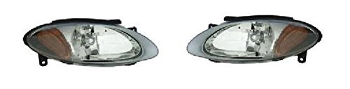 Aftermarket Replacement Fits 98 99 00 01 02 03 Ford Escort (2 Door ZX-2) Headlamp Headlight Pair Set Both Driver and Passenger New