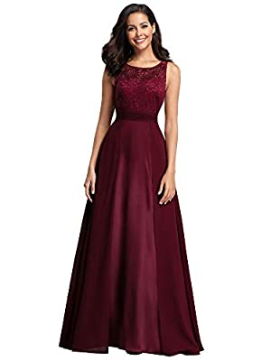 Fully lined, no built-in bras, no stretch Features: A-line, sleeveless, round neck, floral lace upper half, chiffon second half, fit and flared bridesmaid dress Vintage see-through floral lace design with chiffon patchwork, this wedding guest dress i...