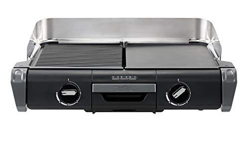 Tefal Barbecue Électrique Family Flavor 2en1, BBQ de Table, Grill Plancha, Thermostat Réglable, 2 Surfaces de Cuisson, 2400 W TG804D14