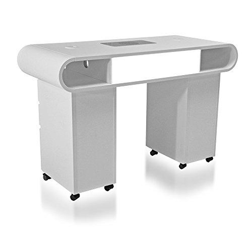 Tavolo professionale per ricostruzione unghie Design con pianale dritto ed aspiratore per polveri di limatura integrato