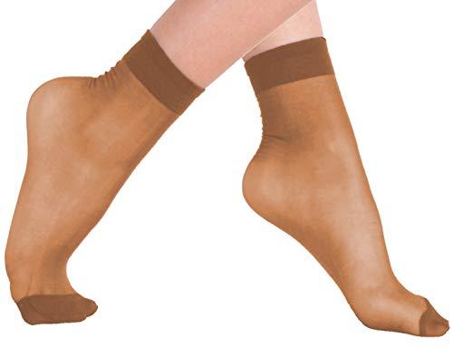 VCA-Lotto di 10, 15o 20paia di calzini con bordo comfort,20denari,colore: nero/carne beige make up,...