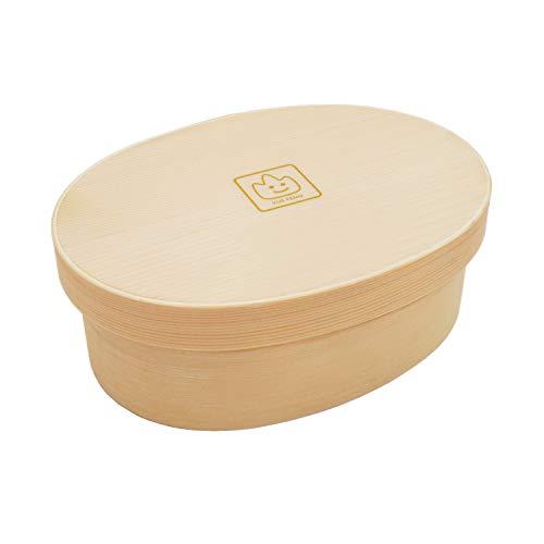 弁当箱 無料な手提袋を送ります 純木製 曲げわっぱ 一段収納型 白木 手製で作ります