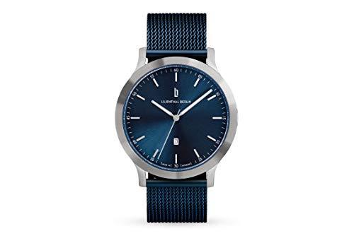 Lilienthal Berlin Huxley Silver Blue | Made in Germany | Unisex Armbanduhr | 40mm (Blau - Mesh)