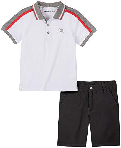 Calvin Klein Boys' 2 Pieces Polo Shorts Set, White/Black, 5