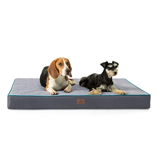 Bedsure Orthopedic Memory Foam Dog Bed for Large Dogs - for Small, Medium, Large Dogs, 2-Layer Pet Mat with Removable Washable Cover, Large Dog Bed (36x27x3.5 Inches), Grey