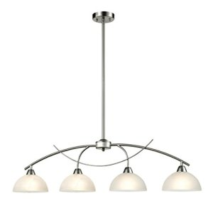 Dazhuan Contemporary Alabaster Frosted Glass Pendant Light Kitchen Island Chandelier Hanging Ceiling Lighting Fixture, Brushed Nickel, 4-Shade
