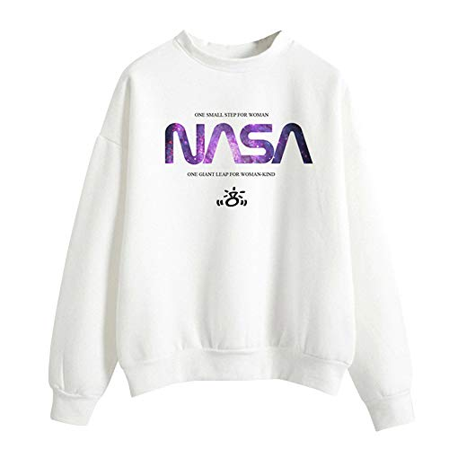 KIACIYA Trend Singer Ariana Big Sweatshirt for Women,Trend Singer Ariana Grande NASA Sweatshirt Pullover Hoodie Solid Color Sweater Long Sleeve for Girl Woman (White,S)