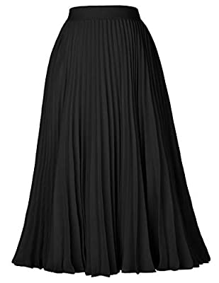 The midi skirt with lining layer features pleated design, and stretchy waistline for a comfortable fit. (The grey without lining) Simple fashion solid-colored design, will never out of date. The skirt with lining is suitable for spring, autumn and wi...