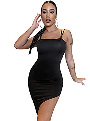 Features: square neck, sleeveless, open back, criss cross, high low hem, above knee length Soft fabric has some stretch Suitable for clubwear, night out, cocktail, dating, weekend, daily life and so on Model Measurements: Height: 67.7 inch, Bust: 36....