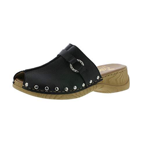 Rieker Mujer Zuecos 65062, señora Mulas,Zapatillas de jardín,Suela de Plataforma,Schwarz,38 EU / 5 UK