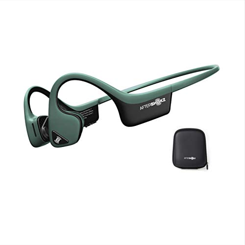 AfterShokz Trekz Air Open-Ear Wireless Bone Conduction Sports Running Headphones with Portable Storage Case, Forest Green