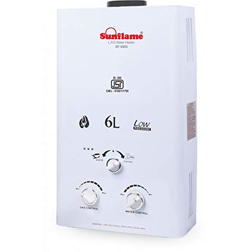 SUNFLAME ISI Certified 6 L Gas Water Heater (White)