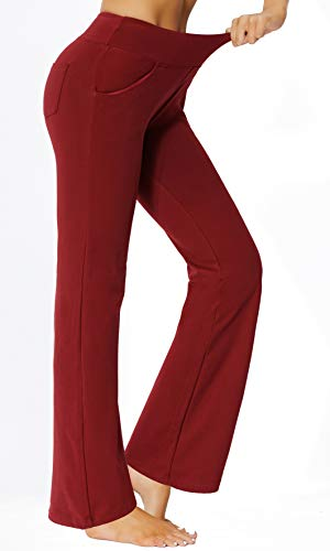 Women's Bootcut Yoga Pants Workout Wide Leg Flared Bell Bottom Loose Fit Overalls Yoga Pants for Women,Red,XL 2