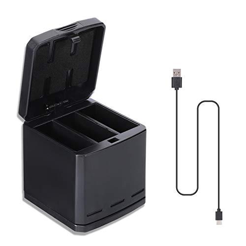 Sjpzwcrl Caricabatterie rapido da Viaggio Triplo Senza Batteria per GoPro Hero 8 7 6 5 2018 e Scatola di immagazzinaggio