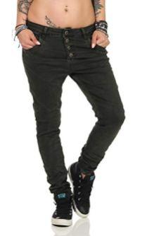 10118 fashion4young Knackige Damen Jeans Oliv