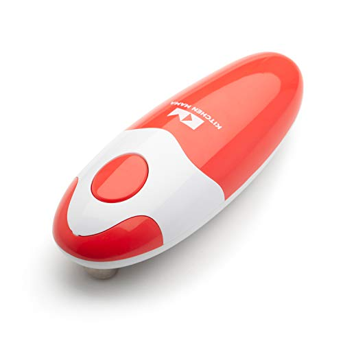 Kitchen Mama Electric Can Opener: Open Your Cans with A Simple Push of Button - No Sharp Edge, Food-Safe and Battery Operated Handheld Can Opener(Red)