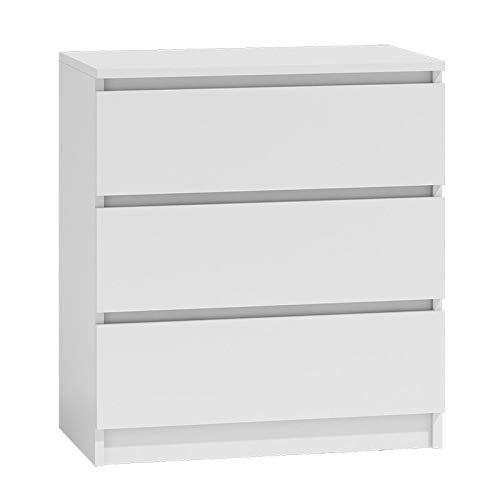 BIM Furniture Marbella 70 cm M3 con 3 cassetti, credenza alta, armadio multiuso (bianco opaco)