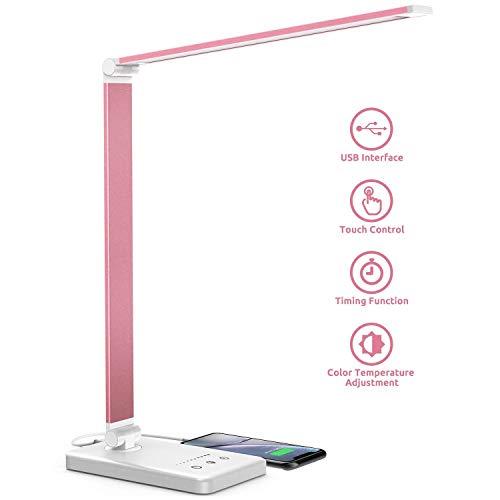 Schreibtischlampe, LED Schreibtischlampe Dimmbar Mit USB, Schwenkbar LED Tischlampe Bürolampe, 5 Farbtemperaturen, Tischleuchte für Büro und Haus - Pink